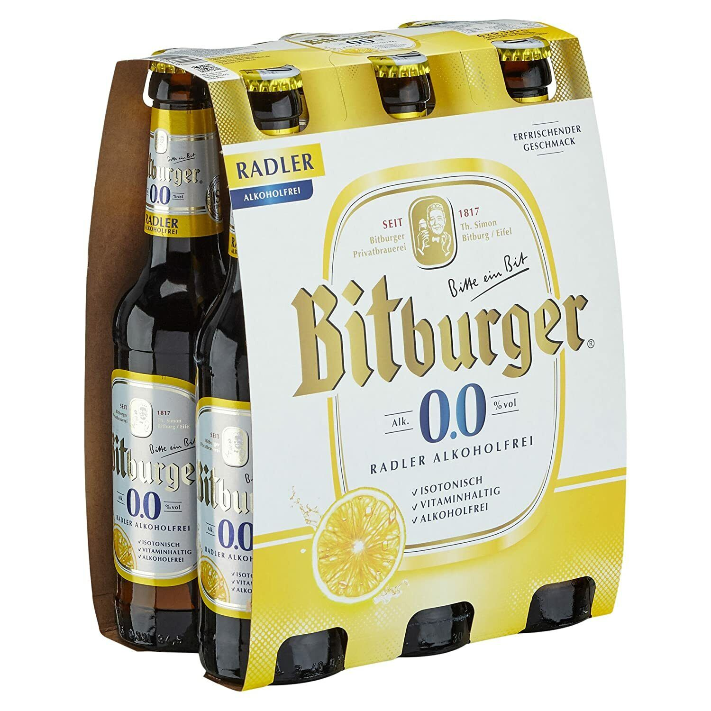 Bitburger Radler - Alkoholfreies Bier - 6 x 0,33 l Flasche - Beer, Cerveza