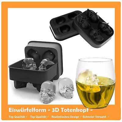3D Eiswürfelform Totenkopf Silikon Party Eiswürfel Halloween Skull Bones Form ()