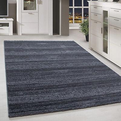 Chinesische Teppich (Moderner Kurzflor Teppich Einfarbig Streifen Gemustert Grau Meliert Wohnzimmer)