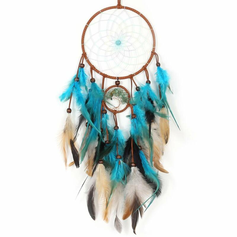 Handmade Dream Catcher with Feather Dream Catcher for Wall Decoration(Teal)