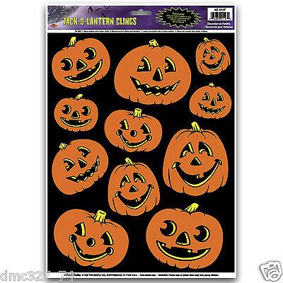 Halloween Decorations Sheets (1 Sheet HALLOWEEN Decoration Prop WINDOW CLINGS Cling JACK O LANTERN)