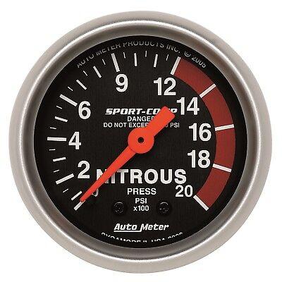 Sport Comp Mechanical Nitrous (AutoMeter 3328 Sport-Comp Mechanical Nitrous Pressure 0-2,000 Gauge)