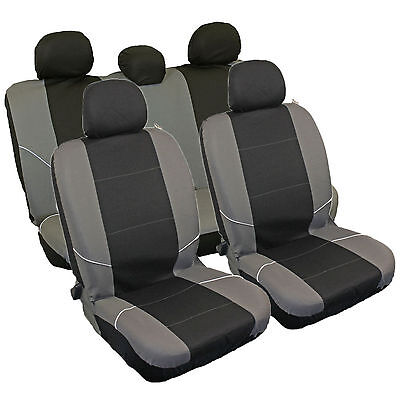 Universal Black/Grey Quality Car Seat Covers Full Set Washable Airbag Compatible