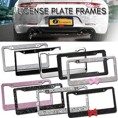Zone  Tech Car License Plate Frame Rhinestone Bling Carbon Metal Chrome Black Metal Plate Frame