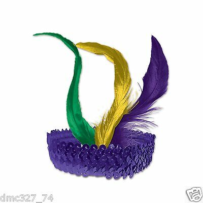 ROARING 20s MARDI GRAS Party Costume Hair FLAPPER Sequin HEADBAND Headpiece](Mardi Gras Headband)