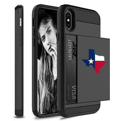 For Apple iPhone Shockproof Wallet Credit Card Holder Case Texas Texan Flag](Flag Holder Case)