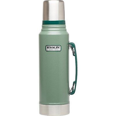 Stanley Classic Vacuum Bottle, Stainless Steel, 1.1 Qt, Hammertone Green, New