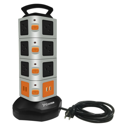 14 Outlet Plugs 4 USB Power Strip Tower, Surge Protector Charging Station