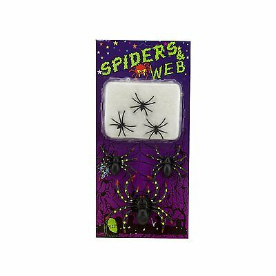 Halloween Plastic Spiders (Plastic Black Spiders and Stretchable Web Halloween Haunted House Decoration)