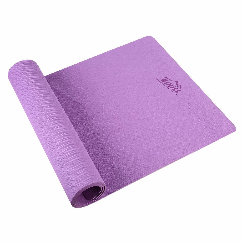 HiHill Yoga Mat, -TPE Non Slip, High Density, with Carry Bag (YG-M1, Purple)