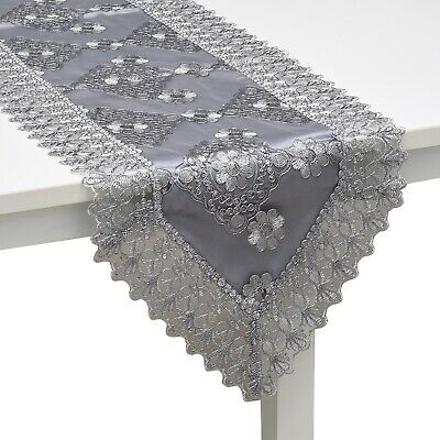 Gray Silver Floral Pattern Polyester Lace Table Runner Dinning Decoration