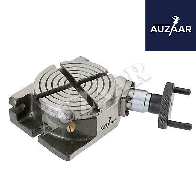 4 Inch Adjustable Rotary Table 100mm Horizontal Vertical With 4 Milling Slots