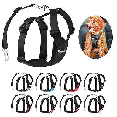 PAWABOO Pet Dog Soft Safety Mesh Vest Harness Walk Collar Strap w/Car Seat Belt