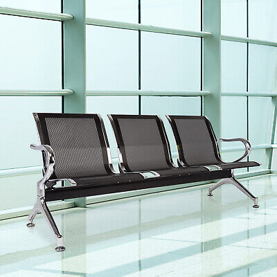3-seat Airport Waiting Chair Guest Reception Salon Barber Hospital Bench Black