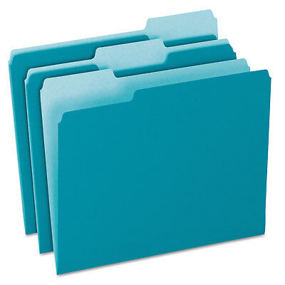 Pendaflex Colored File Folders 13 Cut Top Tab Letter Teallight Teal 100box