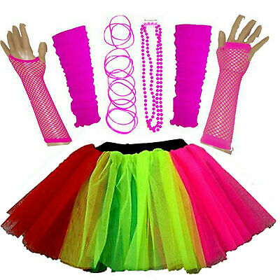 Batgirl Costume Accessories (NEW GIRLS NEON TUTU SKIRT HEN PARTY 80'S FANCY DRESS ACCESSORIES BANGLES)