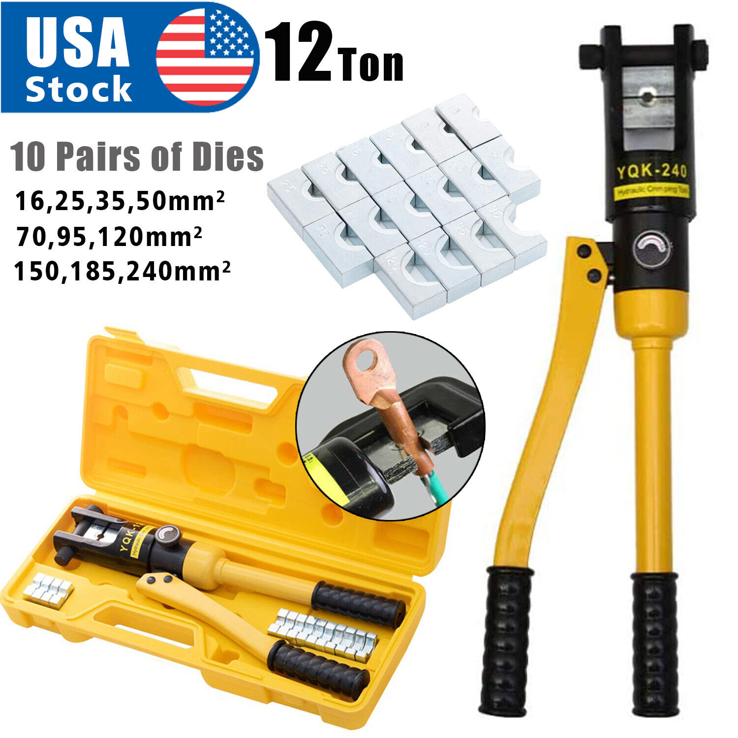 12 Ton Hydraulic Wire Crimper Crimping Tool Battery Cable Lug Terminal 10 Dies Business & Industrial