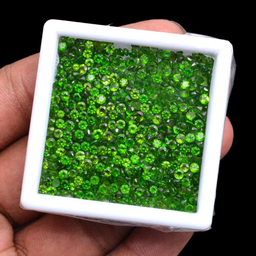 50.00 Cts Natural Chrome Diopside Sparkling Vivid Green Round Cut Gemstones Lot