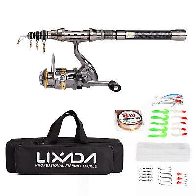 Lixada Telescopic Fishing Rod Reel Combo Full Kit Spinning Fishing Reel Gear