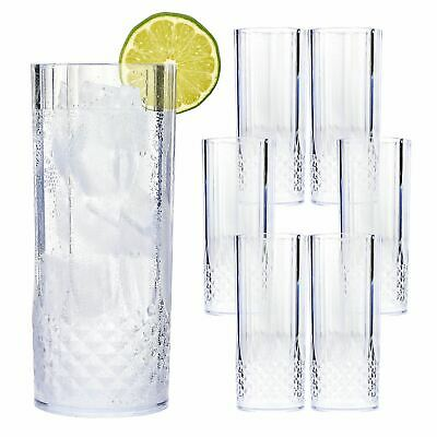 6 x VINTAGE CRYSTAL HIGHBALL GLASSES PLASTIC GARDEN PICNIC BBQ ACRYLIC HI BALL