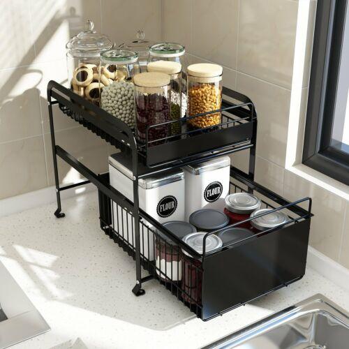 2 Tier Sink Rack Under Cabinet Organizer Expandable Kitchen