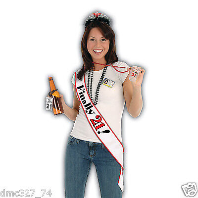 1 Adult Party Novelty Accessory 21st B-day Birthday FINALLY 21! Satin SASH - 21st Birthday Sash