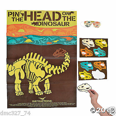 DINOSAUR Dino Dig Party Game PIN THE HEAD ON THE DINOSAUR for 12 - Dinosaur Party Games