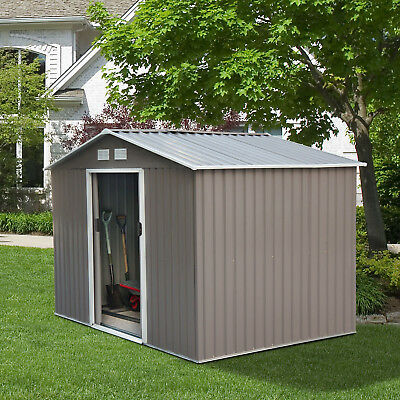 Outdoor Storage Shed Steel Garden Utility Tool Backyard Lawn Waterproof  Garage