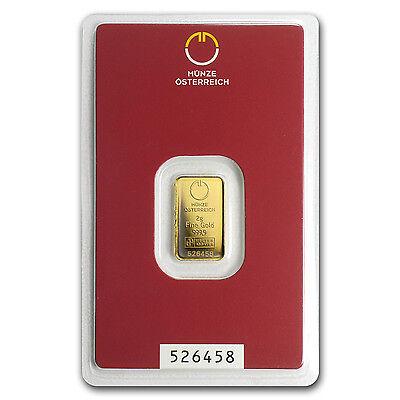 2 gram Austrian Gold Bar - Austrian Mint - In Blister Pack - SKU #78376