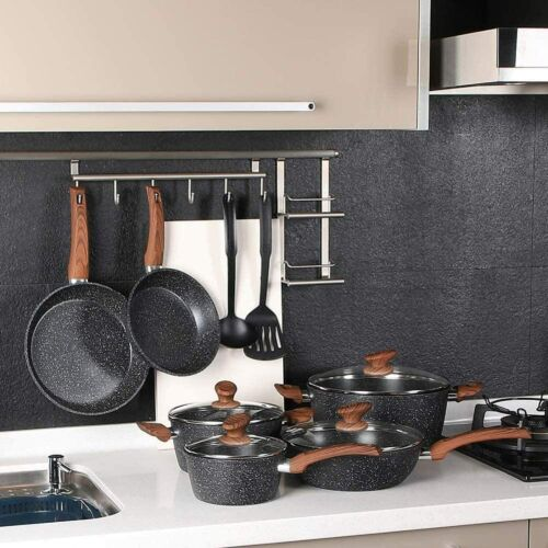 12 Piece Nonstick Granite-Coated Cookware Set Kitchen Cooking Pots and Pans Set