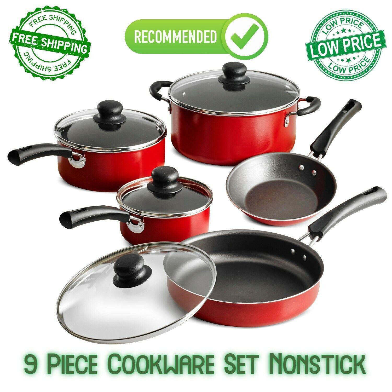 9 Piece Cookware Set Nonstick Pots Pans Home Kitchen Cooking