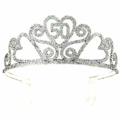 50 Birthday Tiara (Happy 50th Birthday Silver Glitter Tiara Crown Gift Costume Accessory)