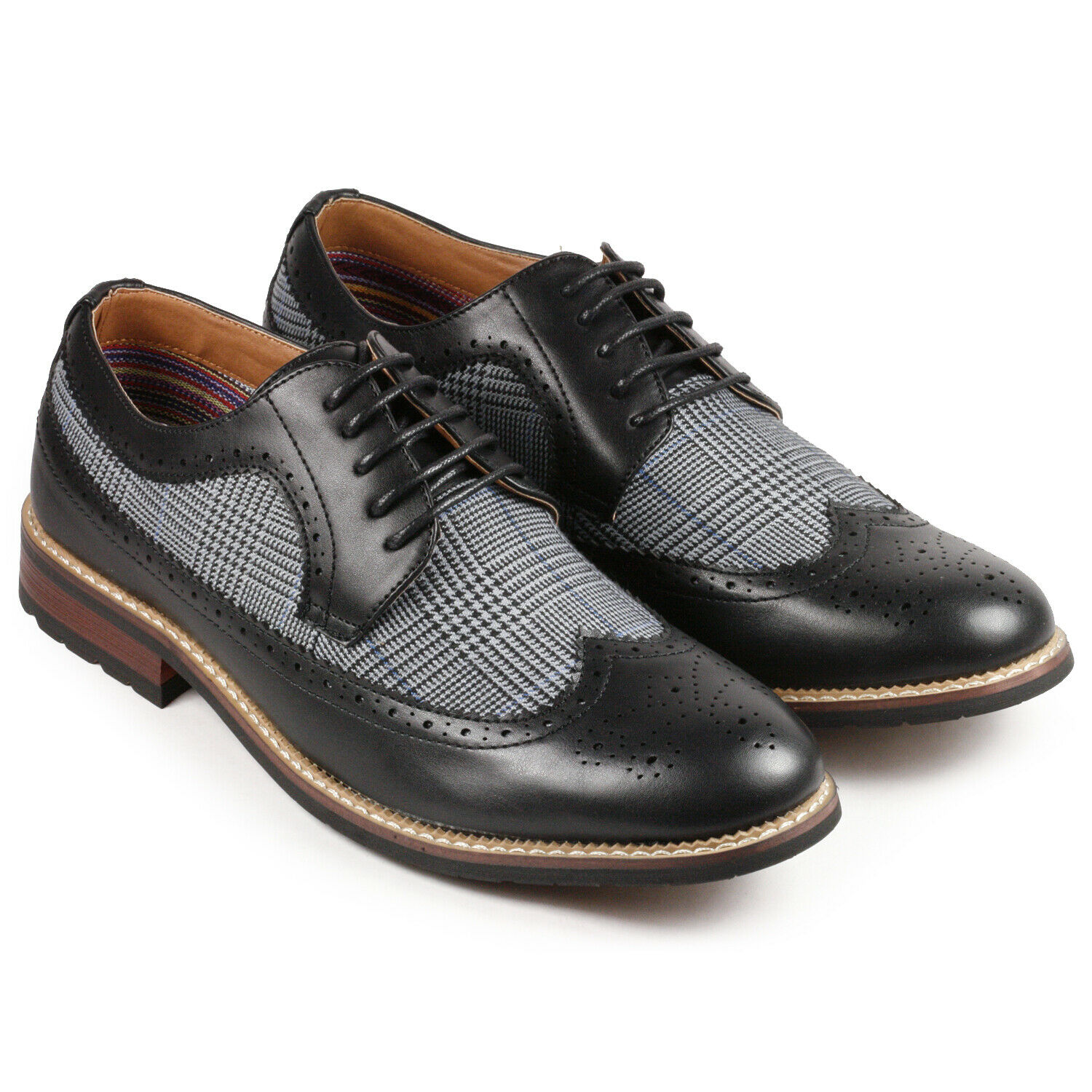 Black Tweed Men's Wing Tip Lace Up Oxford Dress Shoes