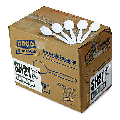 Dixie Plastic Cutlery Heavyweight Soup Spoons White 1000/Carton SH217