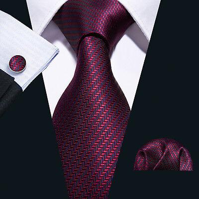 USA Silk Men Tie Classic Red Burgundy Striped Necktie Pocket Square Cufflinks