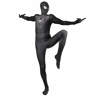 Black Spider-man Cosplay Costume Mask with Lense Man Halloween Party Bodysuit
