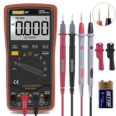 Auto Ranging Digital Multimeter With Battery Alligator Clips Test Lcd Display