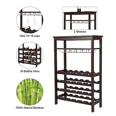 24 BOTTLE Wine Rack Holder Free Standing Bar Cabinet Storage Shelf Home (24 Bottle Wine Cabinet)