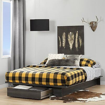 Gray Oak Queen Platform Storage Bed Frame Home Bedroom Living Furniture (Bedroom Oak Bed Frame)