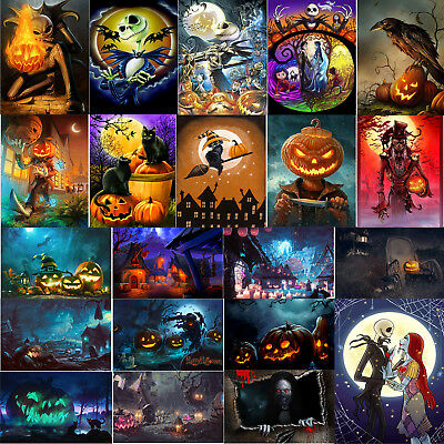 Halloween 5D Full Drill Round Diamond Painting DIY Embroidery Kits Set Decors - Halloween 3 Drill