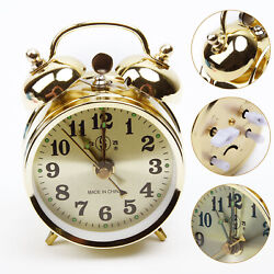 Wind Up Loud Twin-Bell Alarm Clock Mechanical Table Vintage Retro Old Look Gold