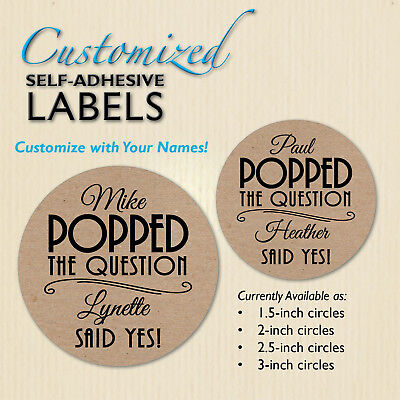 POPPED the Question Popcorn Wedding Favor Label, Engagement Brown Kraft Stickers](Popcorn Wedding Favors)