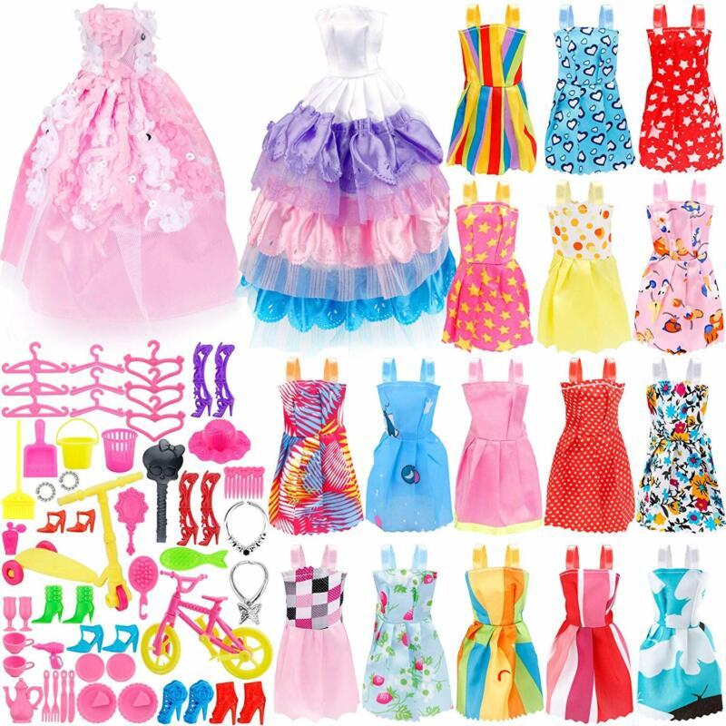 73PCS Barbie Doll Clothes Party Gown Shoes Bag Necklace Hanger Toy Accessories