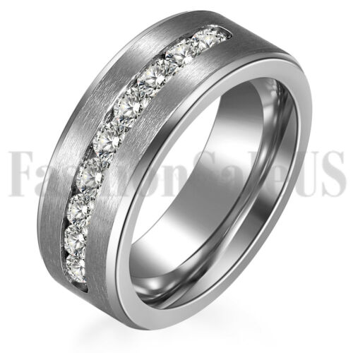 men s women stainless steel rings cz