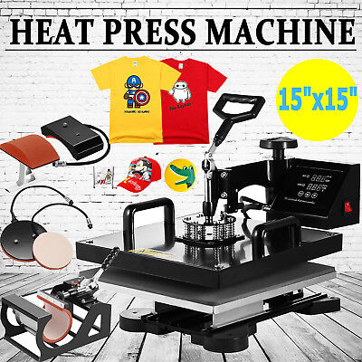 "15""x15"" 5IN1 Combo T-Shirt Heat Press Transfer Pressing Machine Cap Swing Away"