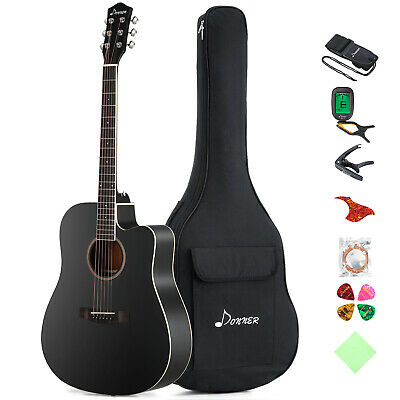 Donner 41 Inch Acoustic Guitar Cutaway Guitar Bundle with Gig Bag Beginner Kit