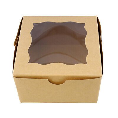 Spec101 Brown Bakery Boxes With Window 25pk - Cake Boxes Party Favor Boxes