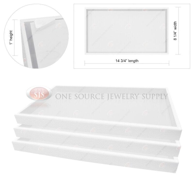 "3 Piece 1"" White Plastic Display Tray Jewelry Storage Stackable Travel Organizer"