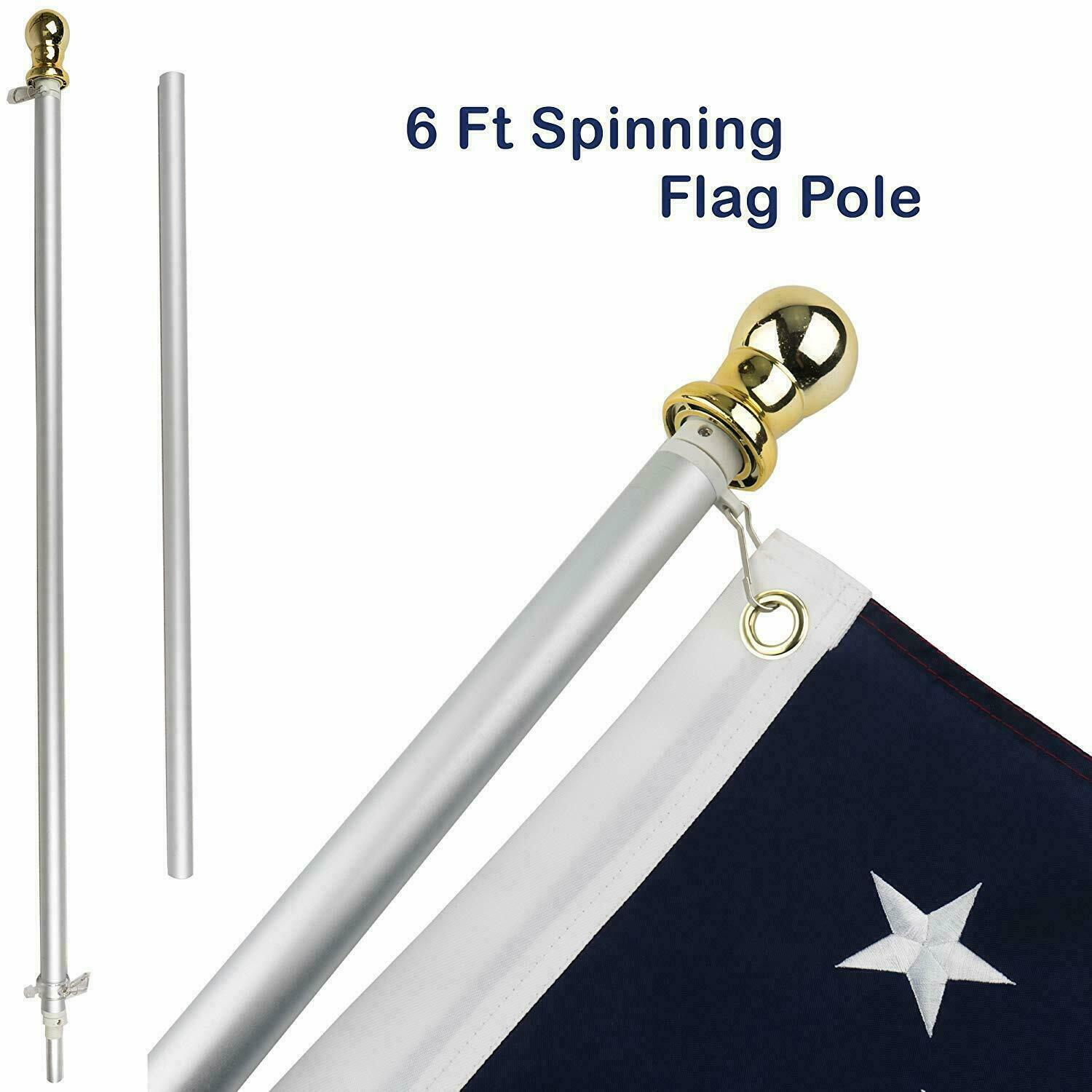 6ft aluminum spinning stabilizer flag pole gold