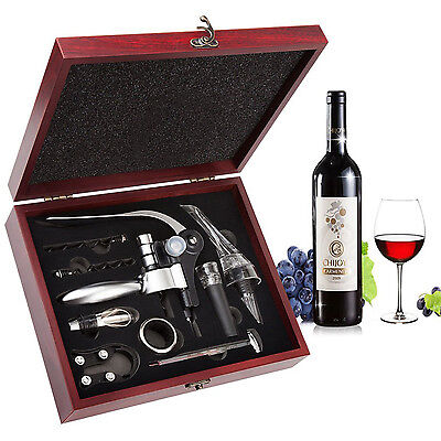 Wine Bottle Opener Accessory Set 9 Pieces Gift Box Corkscrew Stopper Pourer Kit